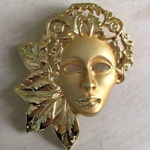 Jewelry - Beautiful Gold Tone Brooch Face Mask Bin